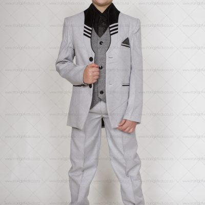 Boys grey formal 5 piece suit