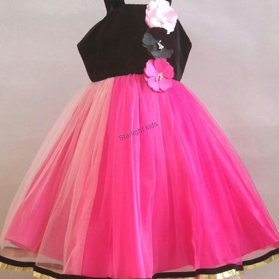 Baby party dress pink black