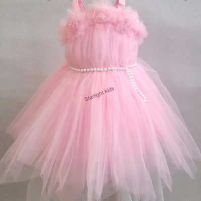 Baby girl pastel pink party dress