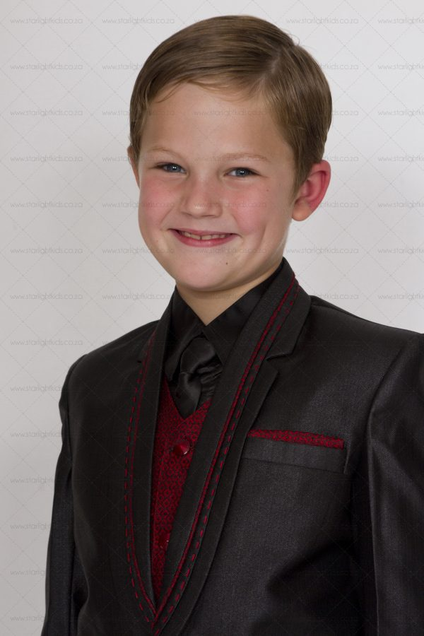 Boys Formal 5 piece Black And Red Suit