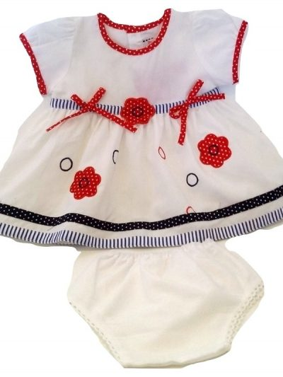 infant white cotton dress and panty with blue detail