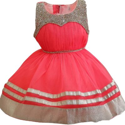 Baby coral and silver party dress