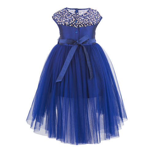 Blue hi low party dress back
