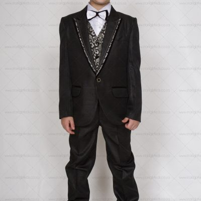 Boys Black Silver and White Suit with Bow Tie 5pc. This boys 5 piece suit set consist of a white shirt, a black and white bow tie, a silver and black waistcoat, a black with silver trimmed coat and a black formal pants.