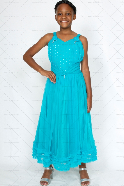 girl formal party dress aqua blue