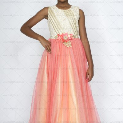 girl Occasion Dress Coral Cream and Gold