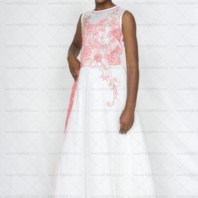 girl formal dress cream and coral pink