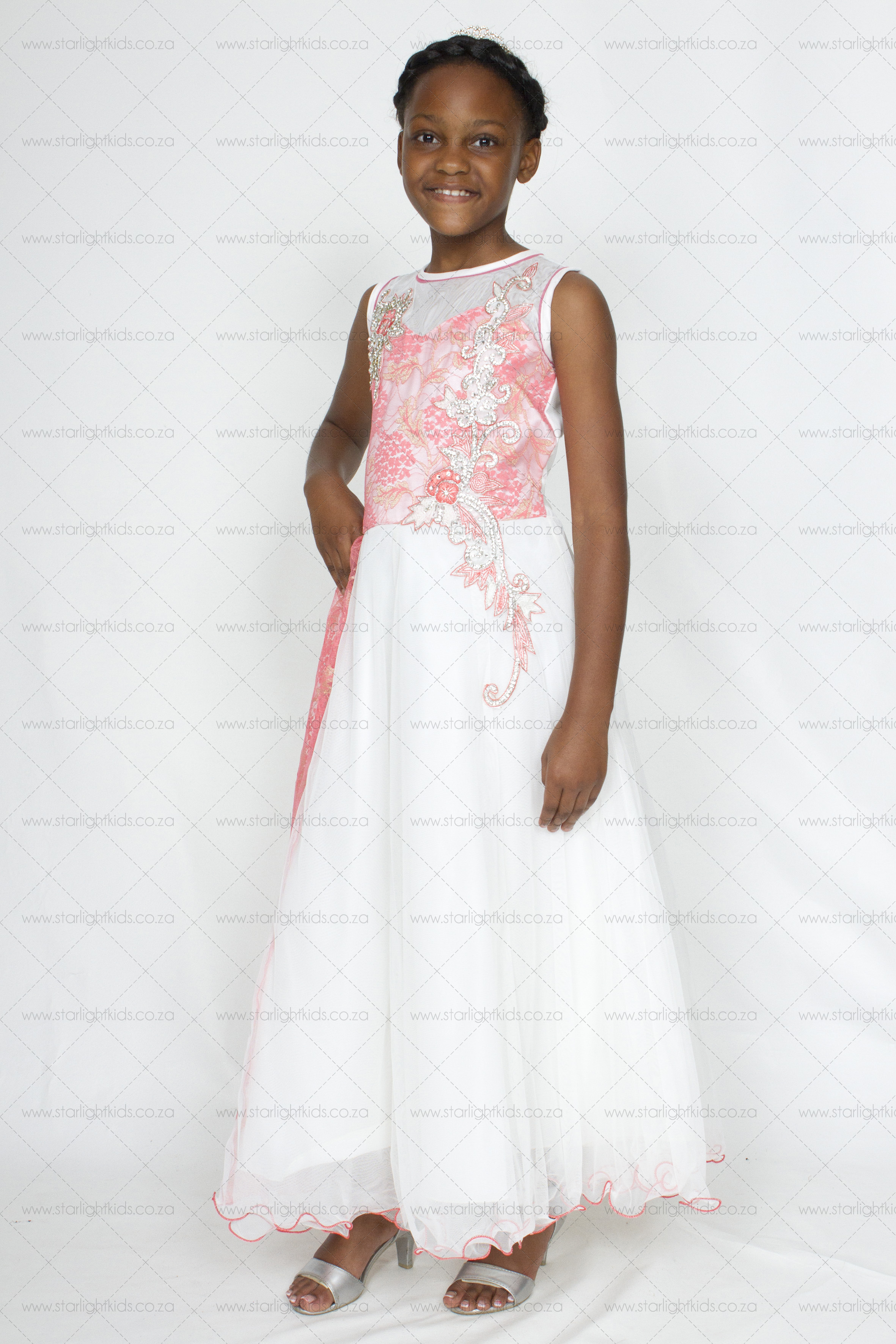 Formal Dress Cream And Coral Pink