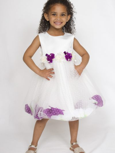 Girl party dress off white with purple petals