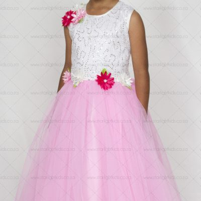 Girls Pink and White Party Dress