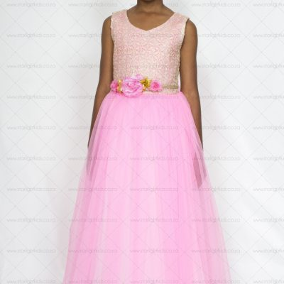 girl pink party dress with gold