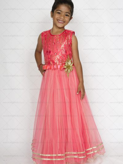 girl salmon red formal dress