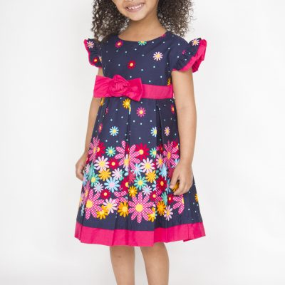 Girl blue cotton dress with flowers