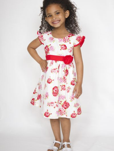 Girl smart casual cotton red and white dress