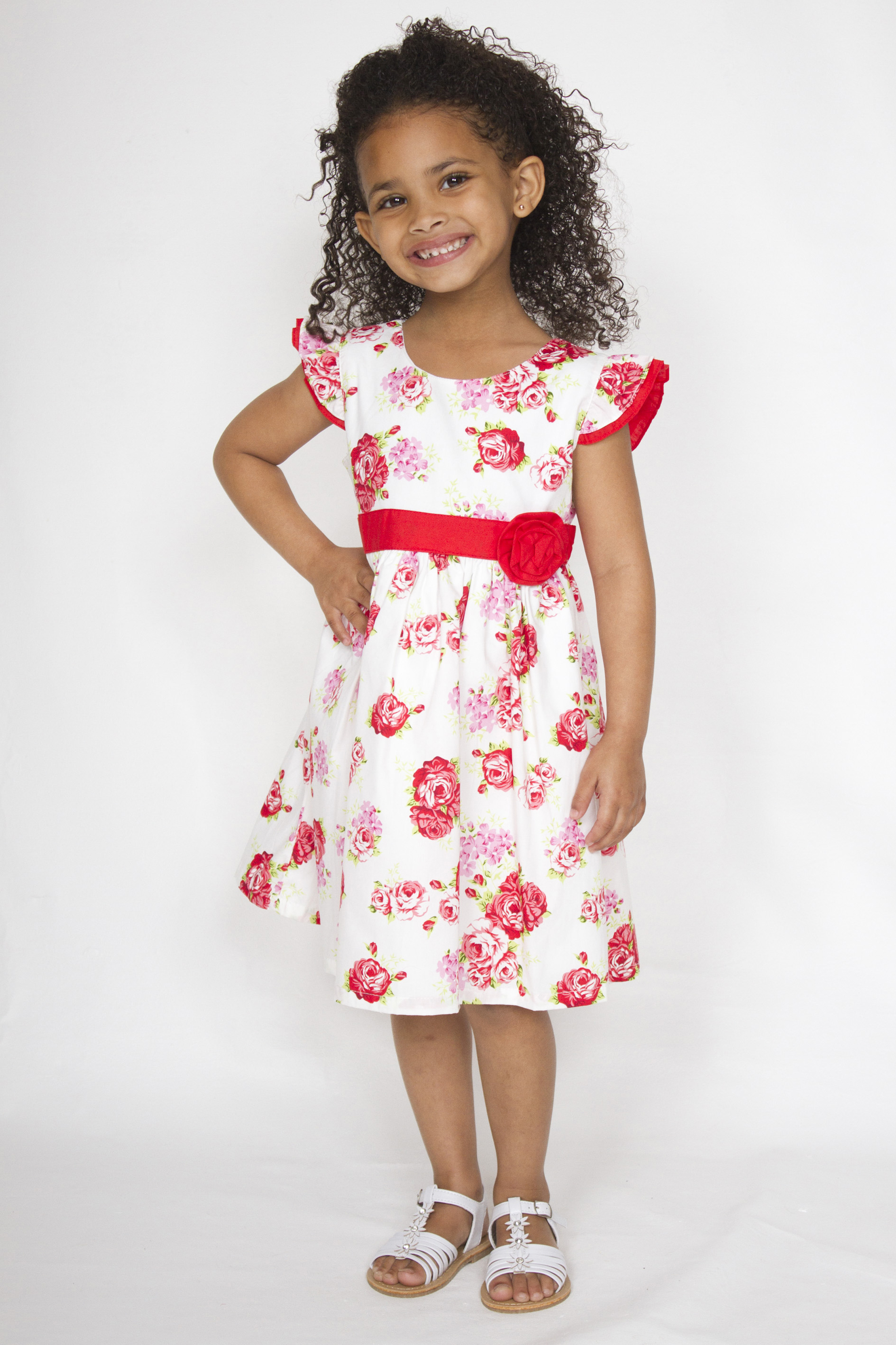 Girl Smart Casual Cotton Red And White