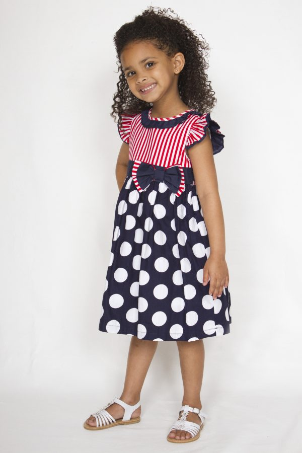 Girl smart casual blue and white polka dot with red stripe