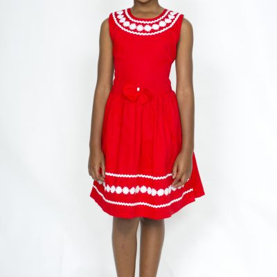 Girl smart casual red cotton dress