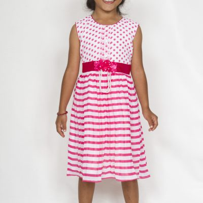 Girl smart casual pink and white georgette dress