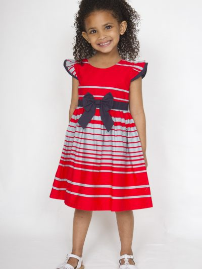 Girl smart casual red and white cotton dress with blue ribbon
