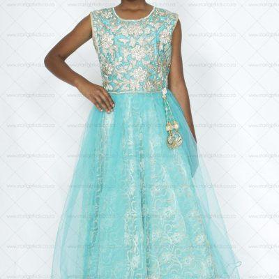 girl teal and gold formal dress