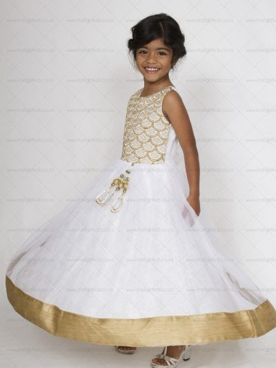 girl white and gold formal dress
