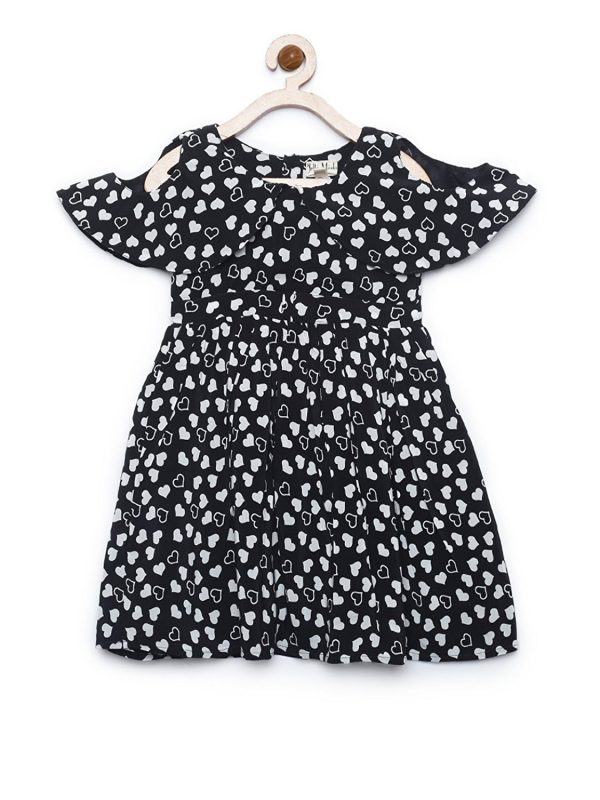 Girls black and white heart print cold shoulder dress