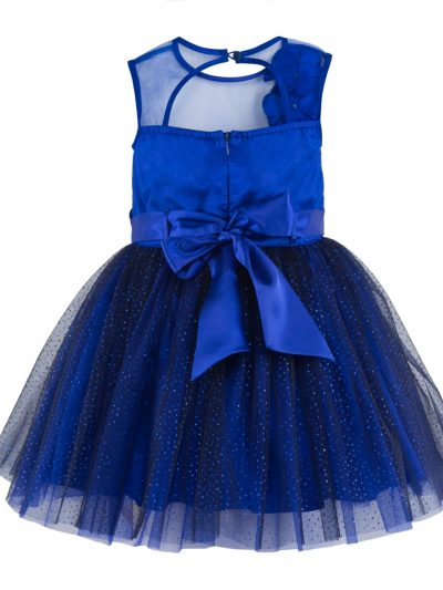 Girls blue party dress back