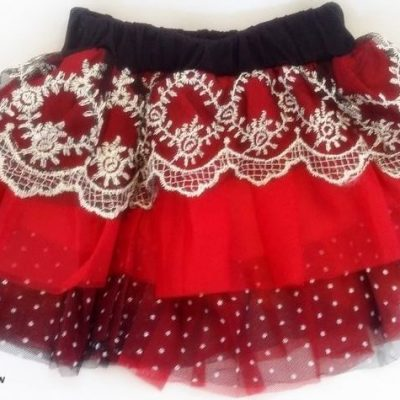 Baby red and black tutu skirt