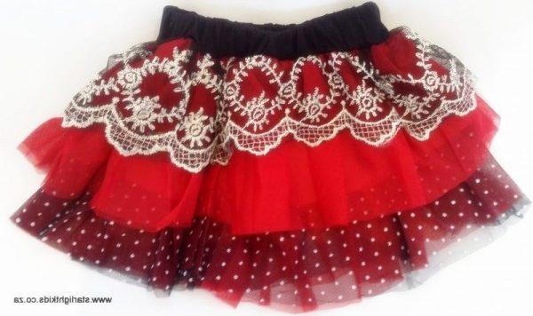 Baby red and black tutu skirt