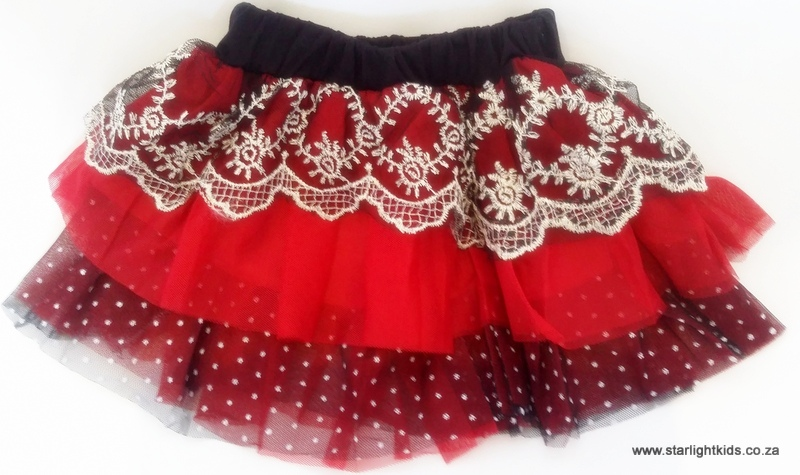 Girls Casual Red And Black Tutu Skirt TM R140 5