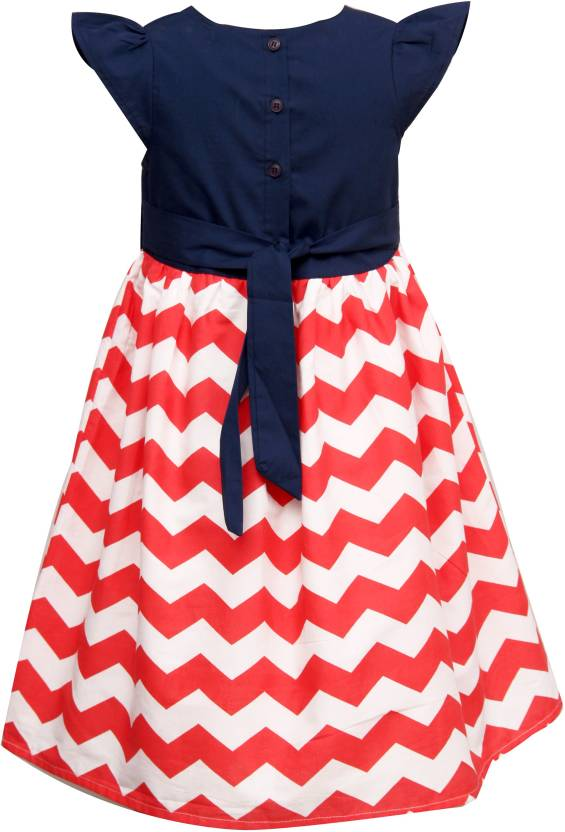 Girls cotton blue bodice and bow with red and white zig zag print dress