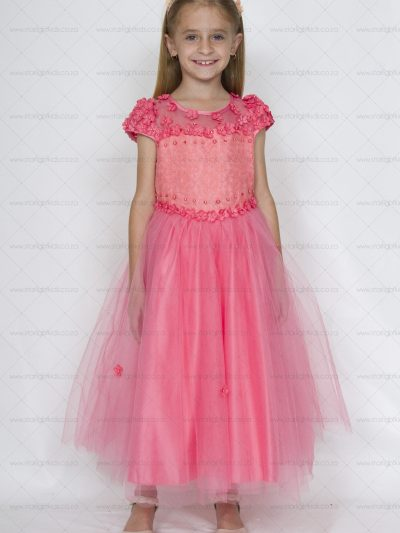 girls formal party dress coral