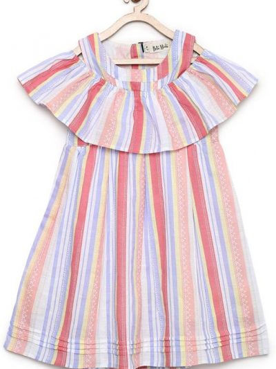 Girls multi colour print with overlap cold shoulder collar cotton dress
