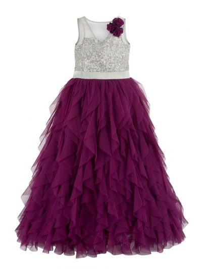 Girls purple waterfall dress