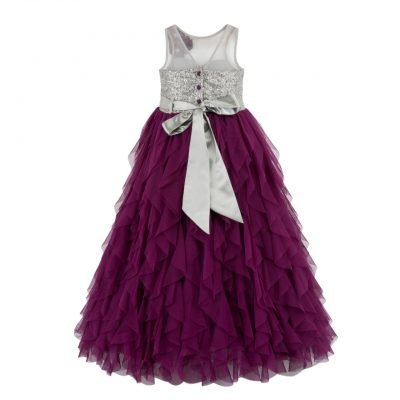 Girls purple waterfall dress back
