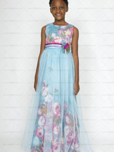 Girls Sky Blue Floral Dress