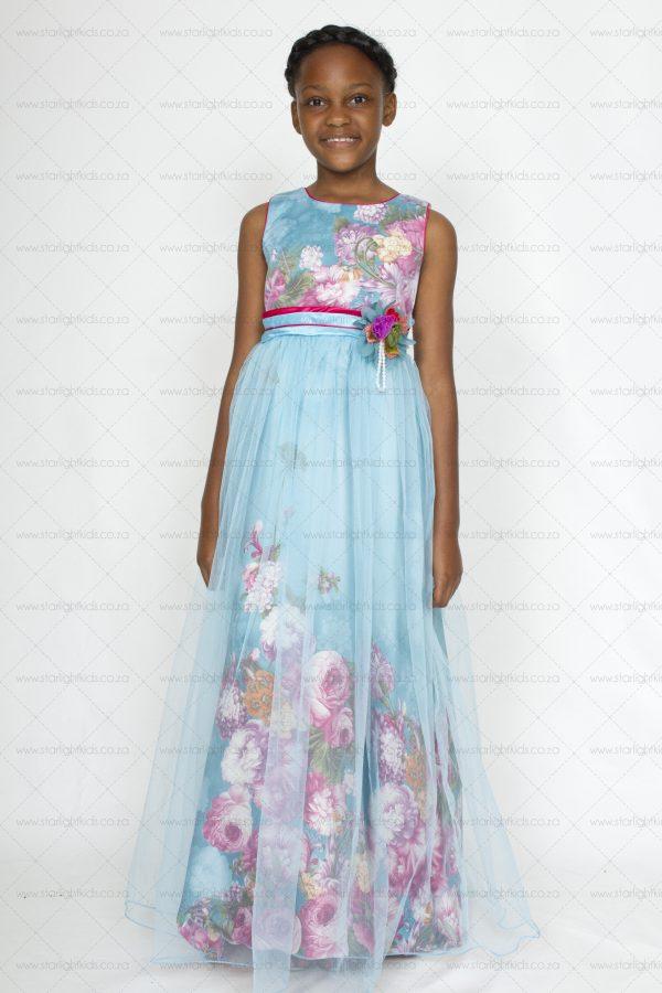 Girls Sky Blue Floral Dress