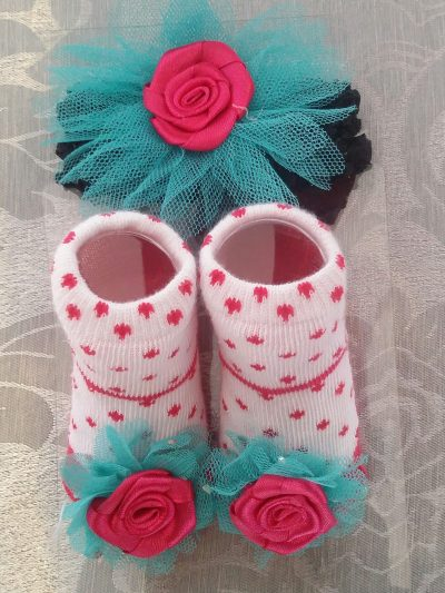Baby sock and headband set Cerise & Turquoise