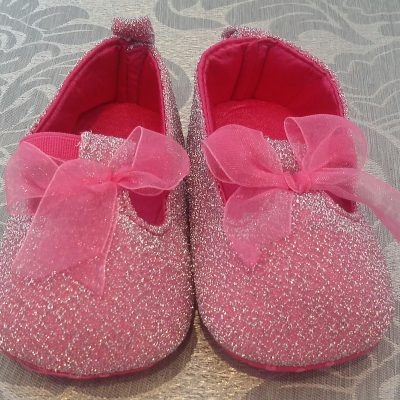 Infant pink and silver formal shoe