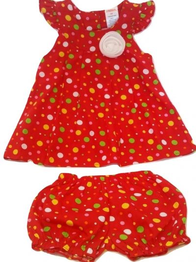 Infant red dotty cotton dress set