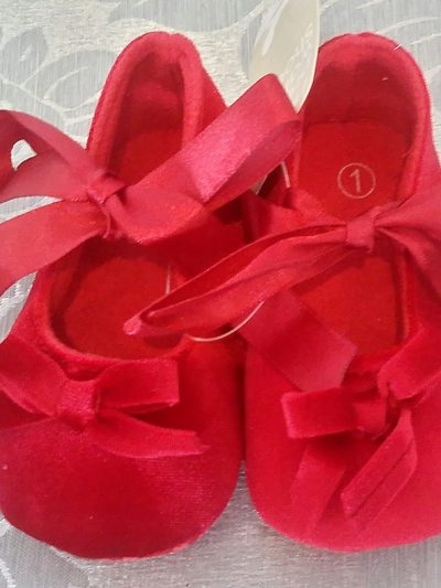 Red formal baby shoes