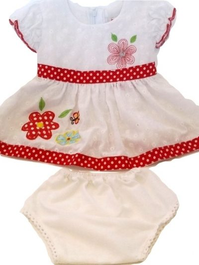 Infant white cotton dress and panty with red detail