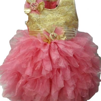 Pink with gold baby party dress