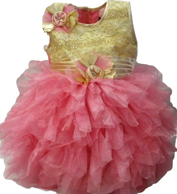 Pink and gold baby party dress_burned
