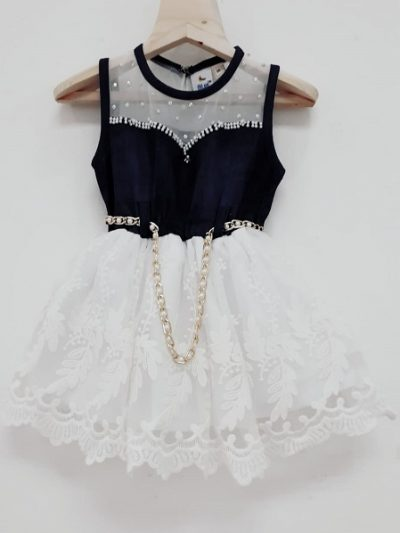 Baby girl white denim dress