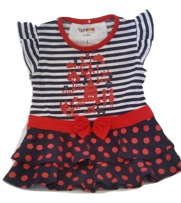 baby blue and red cotton top