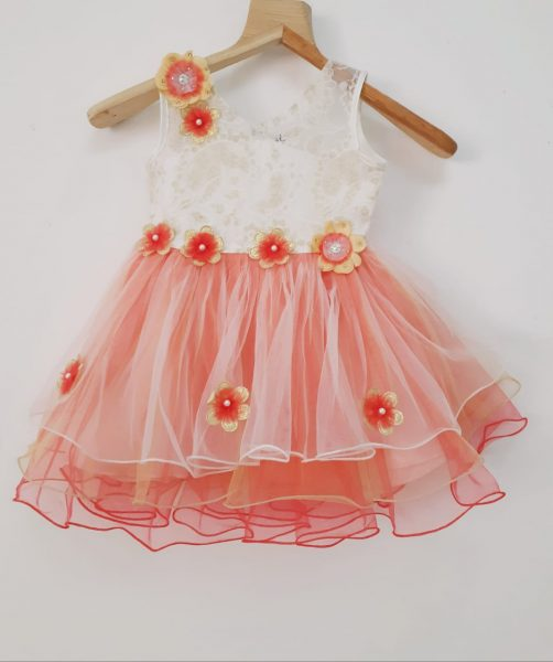 baby coral white and gold party dress