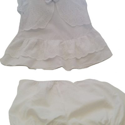 Baby girls white anglaise dress 2pc set
