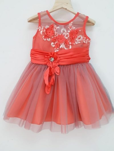 baby formal coral red dress