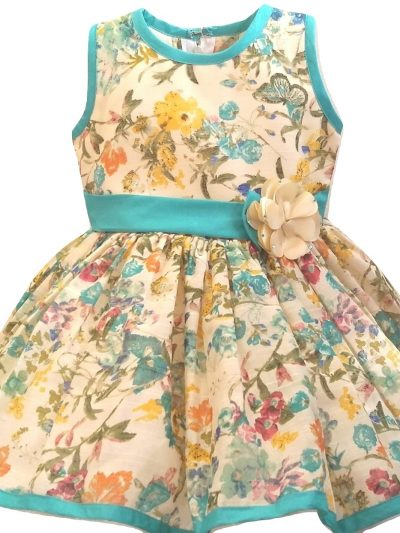 baby girl cream and floral party dress